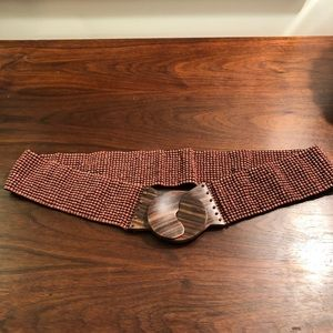 Anthropologie Beaded Stretch Belt w/Wooden Clasp
